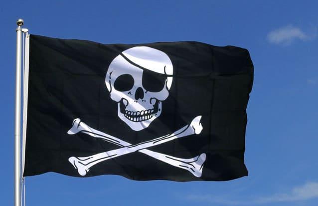 hissez hoo ! Le drapeau pirate du bateau pirate de l'ile maurice