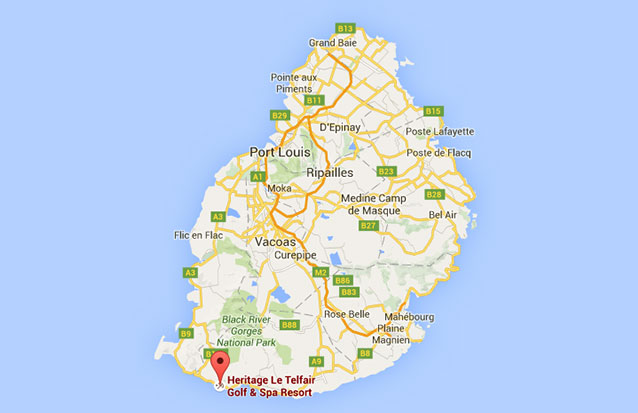 Séjour île Maurice : Heritage Le Telfair Map